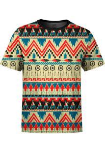 Camiseta Estampada Over Fame Tribal Multicolorido