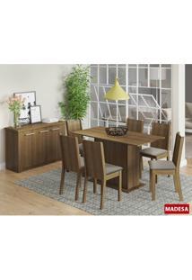 Conjunto De Mesa Madesa Gina C 6 Cadeiras Rustic Perola Se