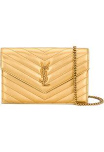 Saint Laurent Bolsa Transversal Envelope Monogramada - Dourado