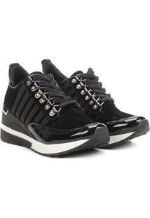 Tênis Anabela Santa Lolla Sneaker Listras Nobuck Feminino - Feminino-Preto