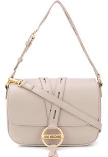 Love Moschino Round Buckle Shoulder Bag - Cinza