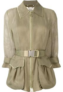 Fendi Belted Textured Jacket - Green