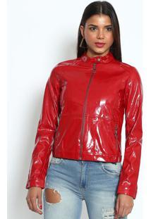 Jaqueta Envernizada Com Zíper - Vermelhadimy