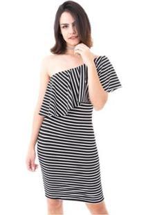 Vestido Moda Vício Um Ombro Só Com Babado Feminino - Feminino-Preto+Branco