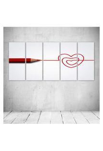 Quadro Decorativo - Love Coraçáo - Composto De 5 Quadros