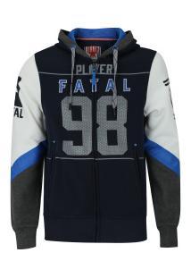 Jaqueta De Moletom Com Capuz Fatal Ab Recortado - Masculina - Azul Escuro