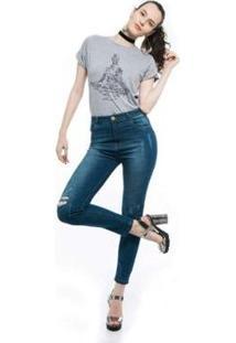 Camiseta Joss Mescla Premium Buda Optimismo Feminina - Feminino-Cinza