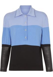 Burberry Camisa Polo Mangas Longas - Azul
