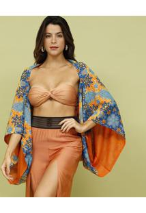 Kimono Com Tag- Azul & Laranja- Mos Beach Wearmos Beach Wear