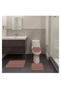 Jogo De Banheiro Goemétrico Rosa Único