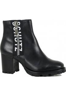 Bota Ankle Boot Tratorada Logo Black Schutz S205560010