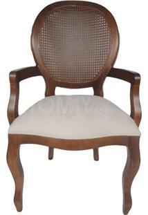 Cadeira Medalhão - Imbuia Com Braço E Palha - Tommy Design