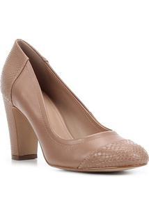 Scarpin Couro Shoestock Salto Alto Snake - Feminino-Nude