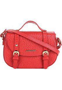 Bolsa Couro Colcci Mini Bag Floater Fivelas Feminina - Feminino-Vermelho