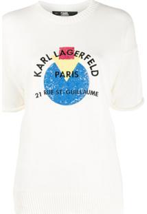 Karl Lagerfeld Suéter Com Logo De Paetês - Branco