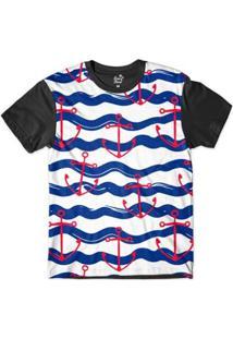 Camiseta Long Beach Náutica Âncora Sublimada Masculina - Masculino-Azul+Branco