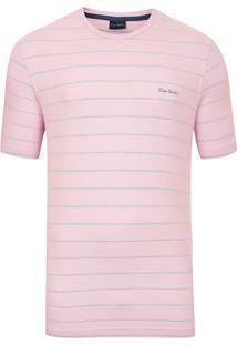 Camiseta Listrada Elastano Rosa Top