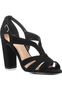 Sandália Shoestock Salto Grosso Nobuck Feminina - Feminino-Preto