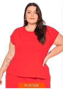 Blusa Feminina Com Fenda Nas Costas Vermelho