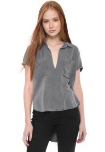 Camisa Calvin Klein Jeans Reta Mullet Cinza