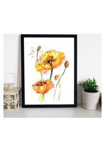 Quadro Decorativo Com Moldura Yellow Flower Preto - 30X40Cm