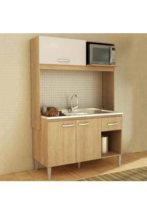 Cozinha Compacta Sarah 3 Portas Sem Tampo Carvalho/Branco - Fellicci