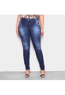 Calça Jeans Plus Size Biotipo Basic Feminina - Feminino-Azul