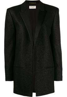 Saint Laurent Notched Collar Tuxedo Jacket - Preto
