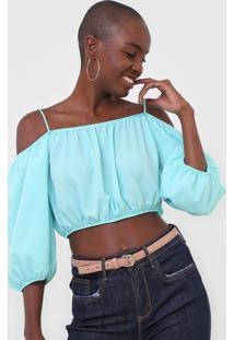 Blusa Ciganinha Cropped My Favorite Thing(S) Lisa Azul - Azul - Feminino - Poliã©Ster - Dafiti