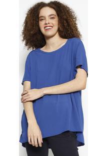 Blusa Lisa Com Pespontos- Azulhering
