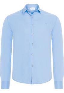 Camisa Masculina Slim Básica - Azul