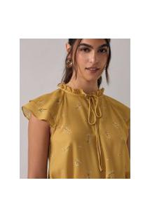 Amaro Feminino Blusa Raglan Decote Amarração, Liberty Campo Yellow