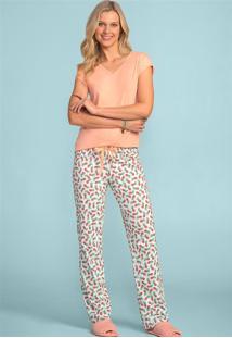 Pijama Longo Feminino Salmão Com Manga Curta 103841 Lua Encantada
