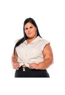 Camisa Regata Tricoline Stretch Feminina Bege Plus Size Xp Ao G5 3222 Multicolorido