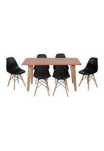 Conjunto Mesa De Jantar Em Madeira 150X80 Vértice + 6 Cadeiras Eiffel - Preto