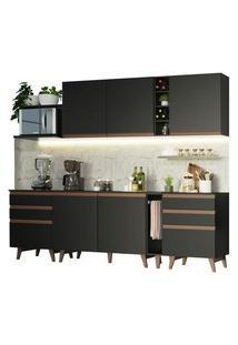 Cozinha Completa Madesa Reims 260006 Com Armário E Balcão Preto Preto