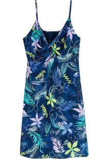 Vestido Azul Evasê Tropical