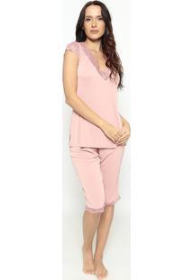Pijama Capri Com Rendarosa Clarofruit De La Passion