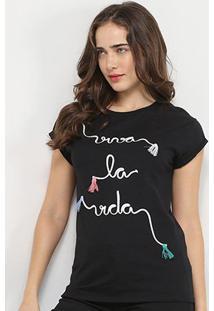 Camisetas Lez Lez Viva La Vida Bordada Feminina - Feminino-Preto