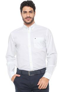 Camisa Tommy Hilfiger Reta Oxford Branca/Verde