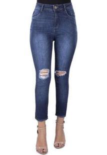Calça Jeans Prs Jeans Capri Rasgos - Feminino