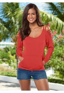 Blusa Com Recortes Vermelho