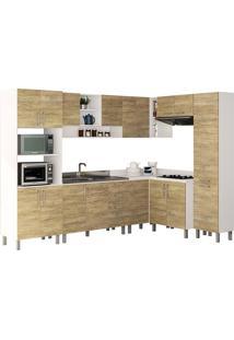 Cozinha Compacta Com 8 Peças Floripa 23-Politorno - Branco / Carvalho Claro