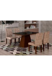 Conjunto De Mesa De Jantar Luna Com 4 Cadeiras Ane Ii Suede Animalle Castor, Preto E Chocolate