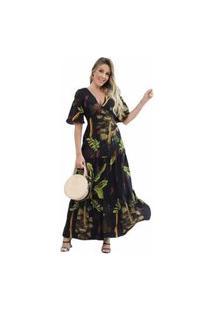 Vestido Longo Preto Florido D Bell