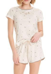 Pijama Feminino Cor Com Amor 12590 Off-White