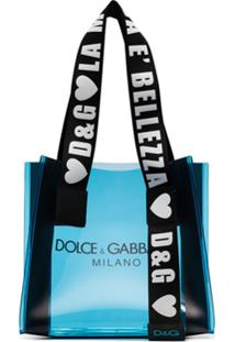 Dolce & Gabbana Bolsa Tote Com Transparência E Logo - Azul