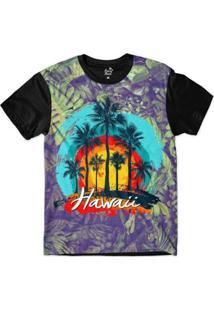 Camiseta Long Beach Hawaii Coqueiros Sublimada Masculina - Masculino-Roxo+Preto