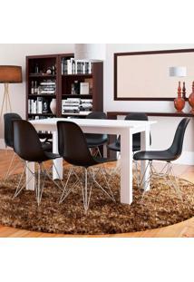 Conjunto De Mesa Cogma Com 6 Cadeiras Eames Base Metal Branco E Preto