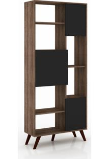 Estante Retro 3 Portas 795X1845X320 Mm Preto Movelbento